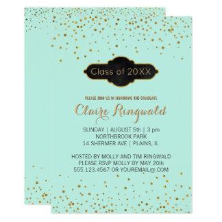 Elegant Gold Confetti Dots Mint Graduation Party Card
