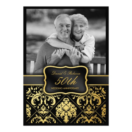 Elegant Gold Damask 50th Wedding Anniversary Custom Announcement
