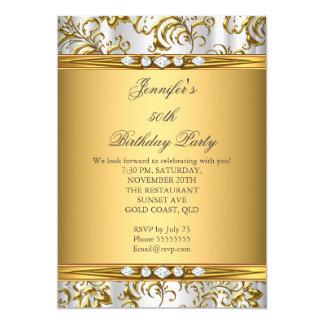 Elegant Gold Damask White Silver Diamond Birthday Card