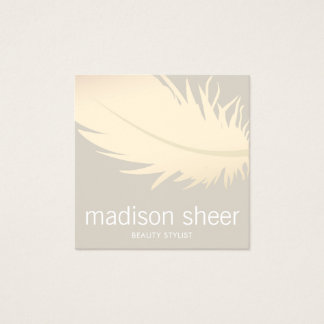 Elegant Gold Feather Beige Taupe Beauty Salon Square Business Card