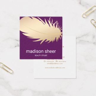 Elegant Gold Feather Burgundy Purple Beauty Salon Square Business Card