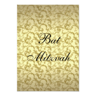 Elegant Gold Filigree Bat Mitzvah Invitation