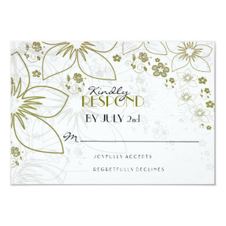 Elegant Gold Floral RSVP Card