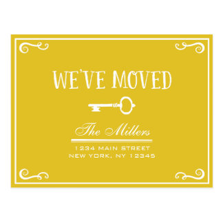 Elegant Gold Key Moving Announcement Postcard