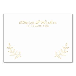 Elegant Gold Laurels Wedding Advice and Wishes Card