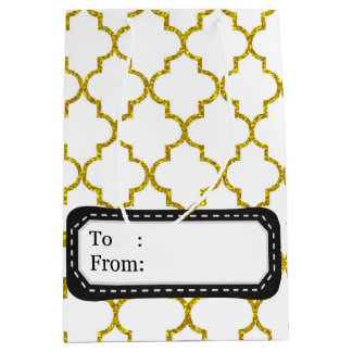 Elegant gold moroccan pattern medium gift bag