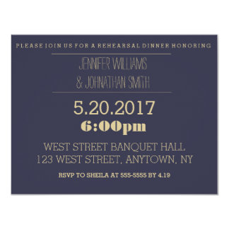 Elegant gold navy rehearsal dinner invitations