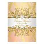Elegant Gold Pink Vintage Glamour Quinceanera 13 Cm X 18 Cm Invitation Card