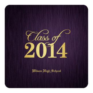 Elegant Gold & Purple Class of 2014 Graduation 13 Cm X 13 Cm Square Invitation Card
