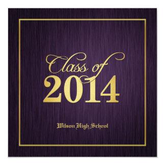 Elegant Gold & Purple Class of 2014 Graduation 5.25x5.25 Square Paper Invitation Card