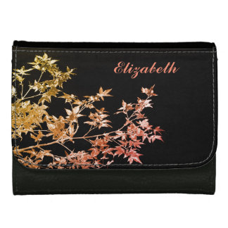 Elegant Gold Red Fall Leaves Personalised Name Wallets