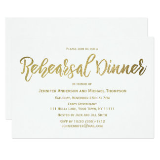 Elegant Gold Rehearsal Dinner Card