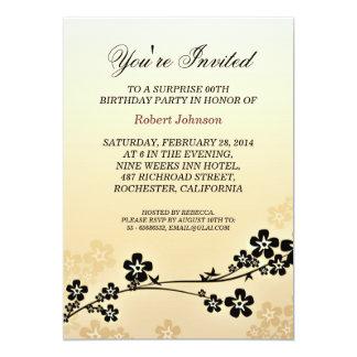 elegant gold sakura birthday party card