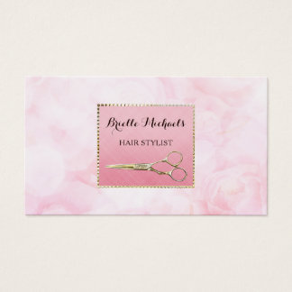 Elegant Gold Scissors Chic Pink Floral Hairstylist Business Card
