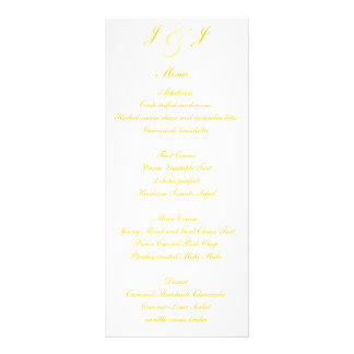 Elegant Gold Script Wedding Menus Custom Rack Cards