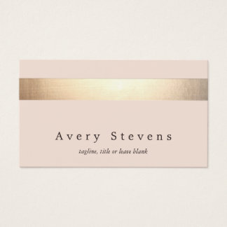 Elegant Gold Striped (no shine) Modern  Light Pink Business Card