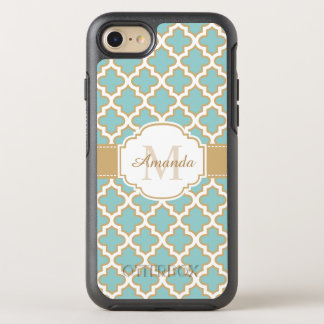 Elegant Gold Teal Blue Moroccan Pattern Monogram OtterBox Symmetry iPhone 8/7 Case