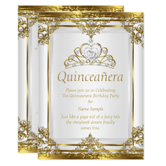 Elegant Gold White Pearl Princess Quinceanera Card