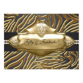 Elegant Gold Zebra Womans 50th Birthday Party Card