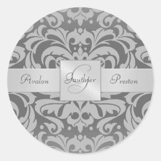 Elegant Gray Damask Monogram Wedding Sticker