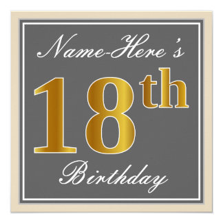 Elegant, Gray, Faux Gold 18th Birthday + Name Card