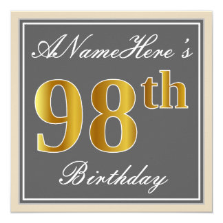 Elegant, Gray, Faux Gold 98th Birthday + Name Card