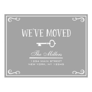 Elegant Gray Key Moving Announcement Postcard