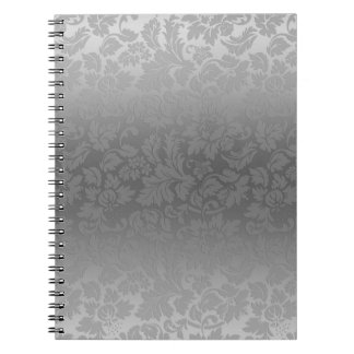 Elegant Gray Monochromatic Floral Damasks Pattern Spiral Notebook