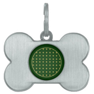 Elegant Green and Gold Damask Pet Tag