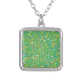 Elegant Green Confetti TEMPLATE Add text image fun Personalized Necklace