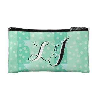 Elegant Green Dots & Spots Monogram Pencil Case Makeup Bags