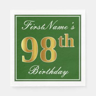 Elegant Green, Faux Gold 98th Birthday + Name Paper Napkin