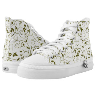 Elegant green floral Pattern Design Printed Shoes
