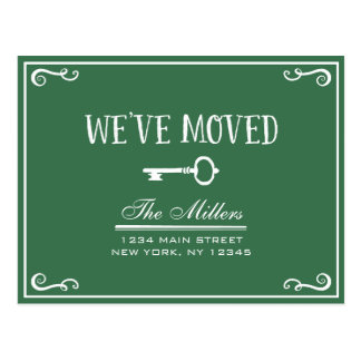 Elegant Green Key Moving Announcement Postcard