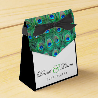 Elegant Green Peacock Wedding Favour Box