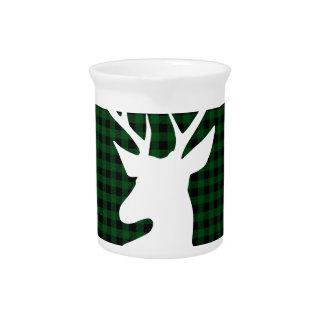 Elegant Green Plaid Deer Design Pitcher