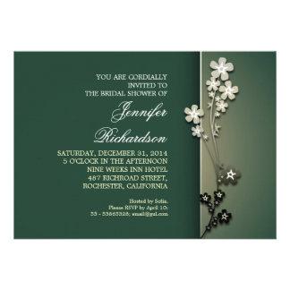elegant green sakura bridal shower invitations