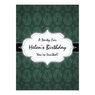 "Elegant Green Victorian Damask Vintage Style 5.5"" X 7.5"" Invitation Card"