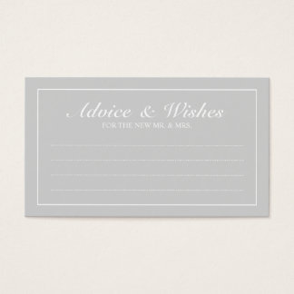 Elegant Grey and White Wedding Advice and Wishes Business Card