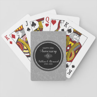 Elegant Grey Damask- Anniversary Playing Cards