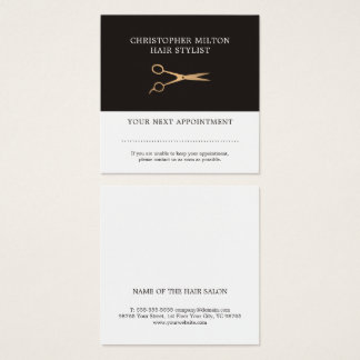 Elegant Grey Faux Gold Hairstylist Appointment Square Business Card