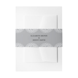 Elegant Grey Lace Invitation Belly Band