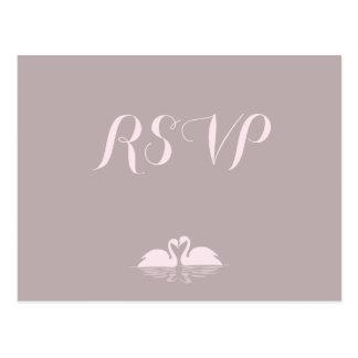 Elegant Grey Pink Swan Wedding RSVP Postcards
