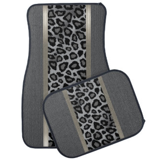 Elegant Grey Texture and Leopard Animal Design Car Mat