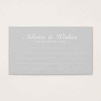 Elegant Grey Wedding Advice and Wishes Business Card