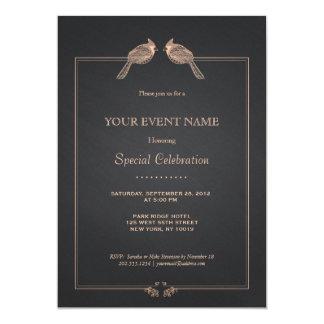 Elegant Hand Drawn Birds On Black Chalkboard 13 Cm X 18 Cm Invitation Card