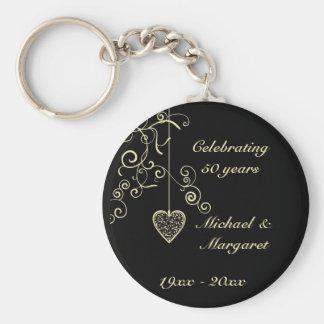Elegant Heart Golden Wedding Anniversary Memento Basic Round Button Key Ring