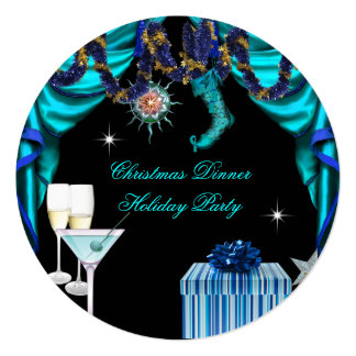 Elegant Holiday Party Christmas Blue White Dinner 13 Cm X 13 Cm Square Invitation Card