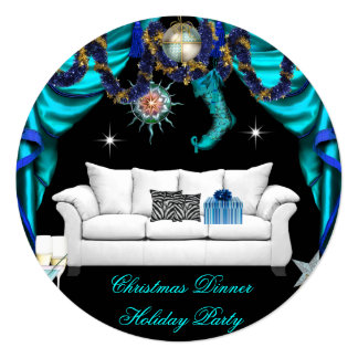 "Elegant Holiday Party Christmas Blue White Dinner 5.25"" Square Invitation Card"