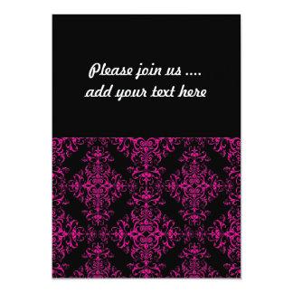 "Elegant Hot Pink and Black Victorian Style Damask 5"" X 7"" Invitation Card"